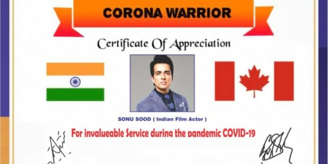 Canada India Foundation Felicitates Bollywood Cine Star Sonu Sood For His Tireless Charity Work Amid Covid-19 Induced Lockdown